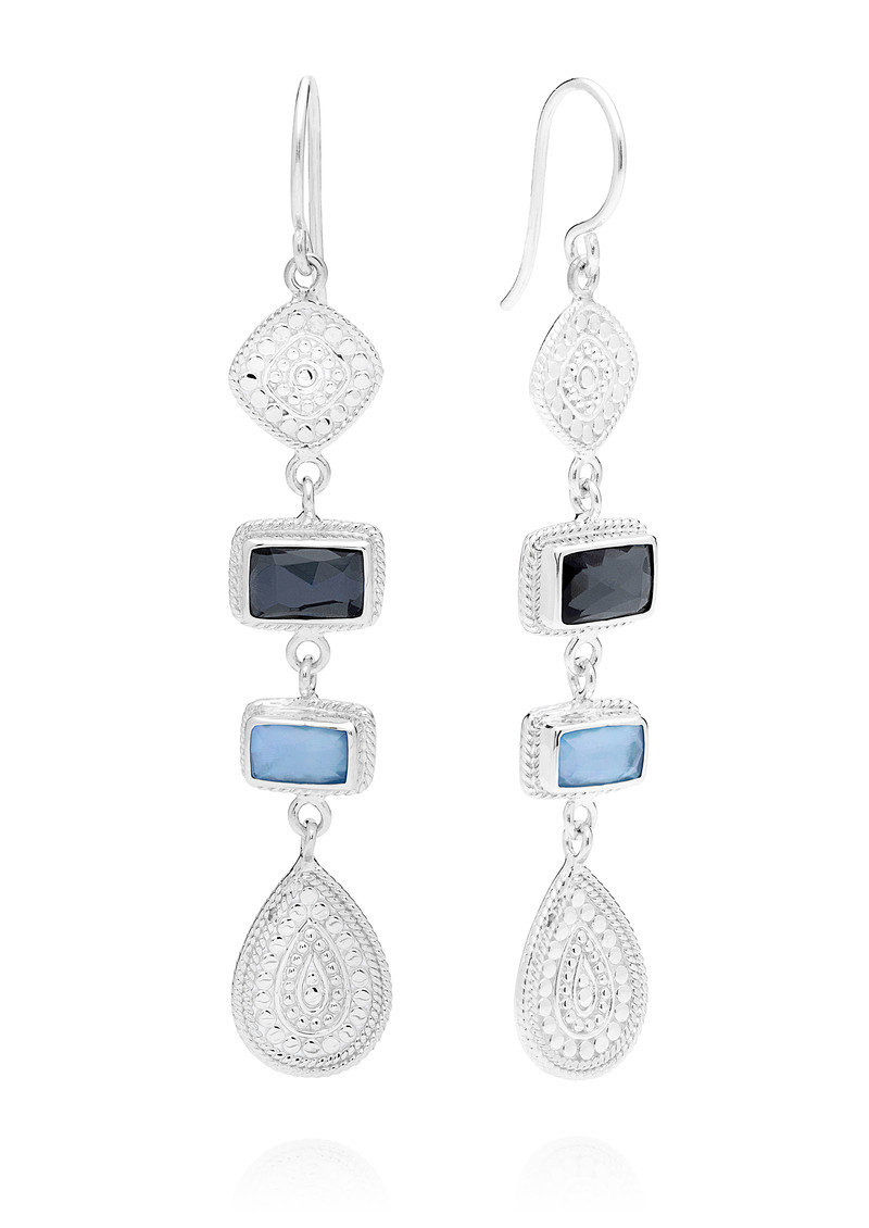 Sama Hematite & Sapphire Multi Station Drop Earrings - Silver main image