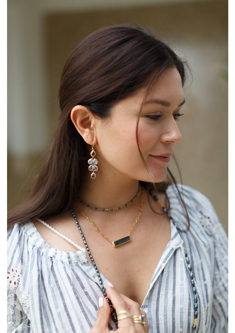 ANNA BECK Sama Hematite & Sapphire Multi Drop Earrings - Silver main image