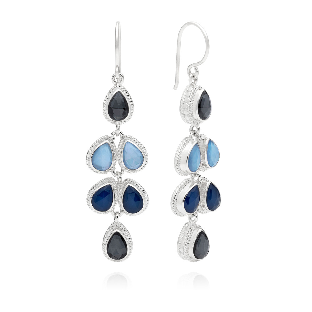 Sama Hematite & Sapphire Multi Drop Earrings - Silver