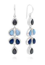 ANNA BECK Sama Hematite & Sapphire Multi Drop Earrings - Silver