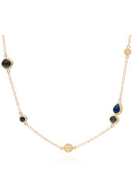 ANNA BECK Sama Hematite & Sapphire Reversible Station Necklace - Gold