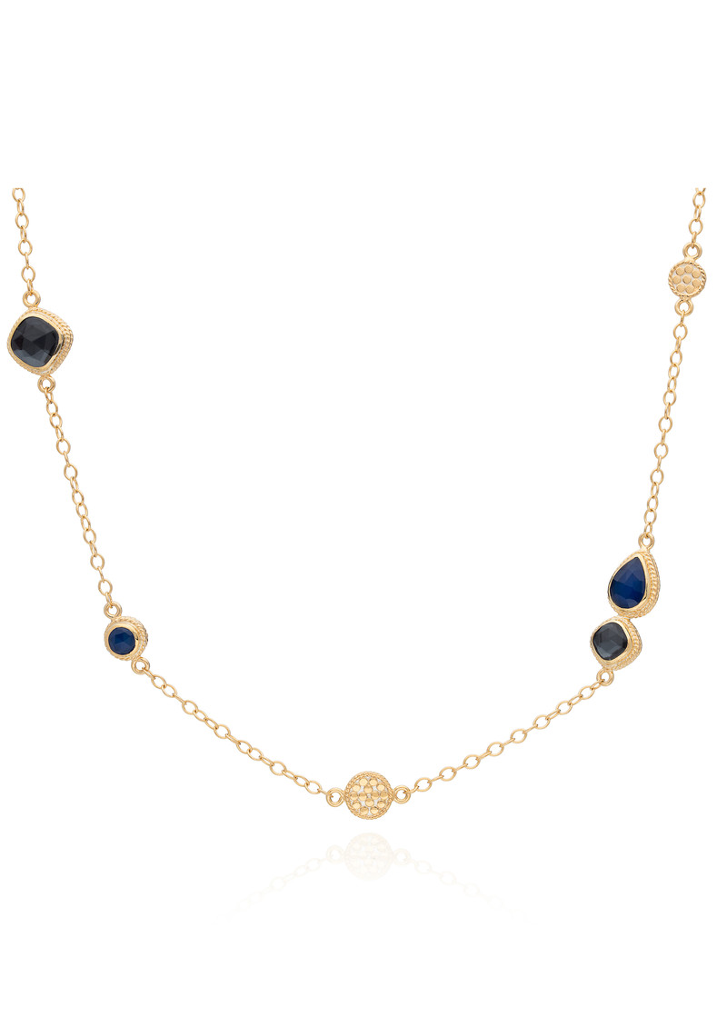 Sama Hematite & Sapphire Reversible Station Necklace - Gold main image