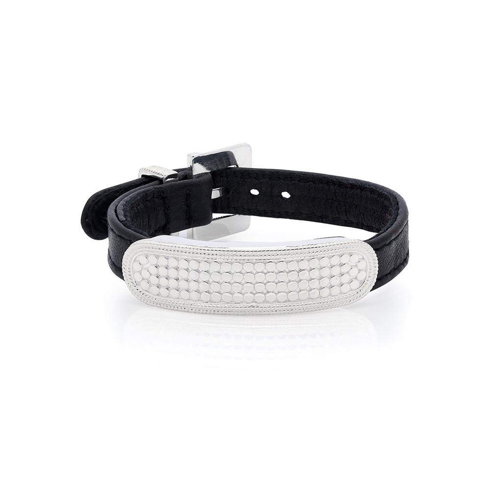 Leather Bar Bracelet - Black & Silver