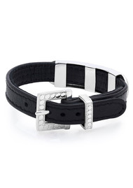 ANNA BECK Leather Bar Bracelet - Black & Silver