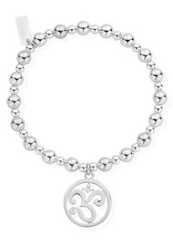 ChloBo Mini Small Ball Om Disc Bracelet - Silver