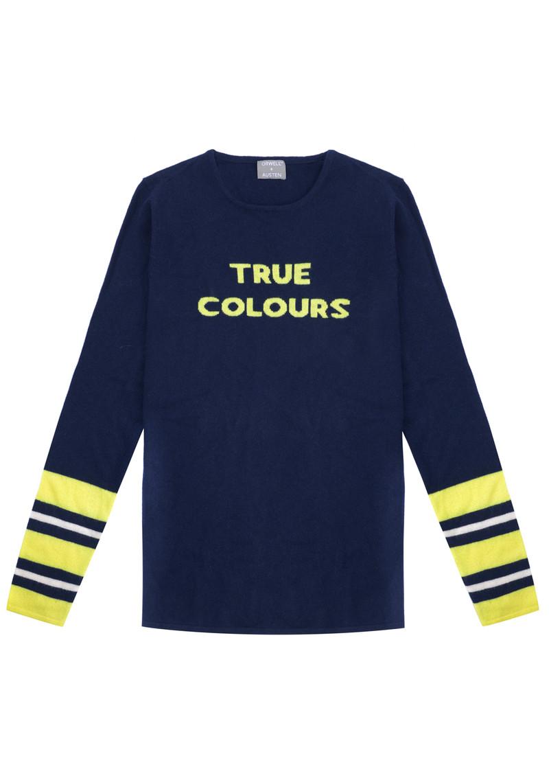 ORWELL + AUSTEN True Colours Jumper - Navy & Neon Yellow main image