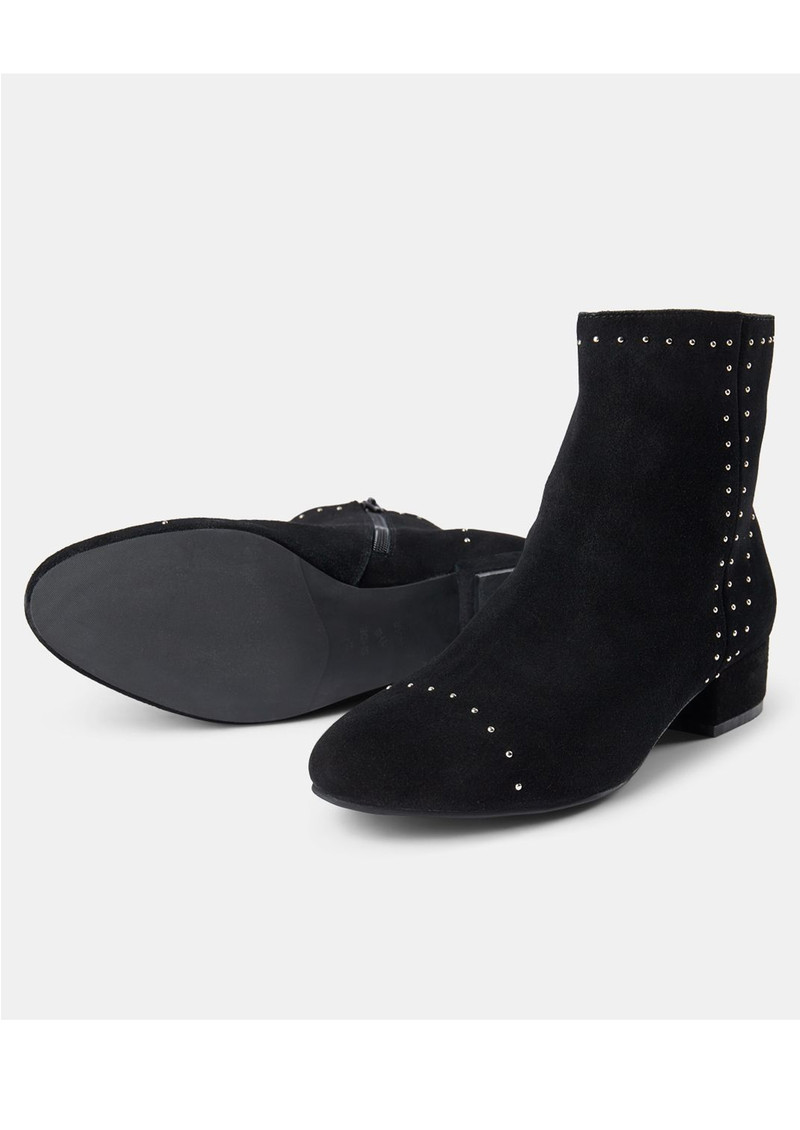 Rose Studs Suede Ankle Boot - Black main image