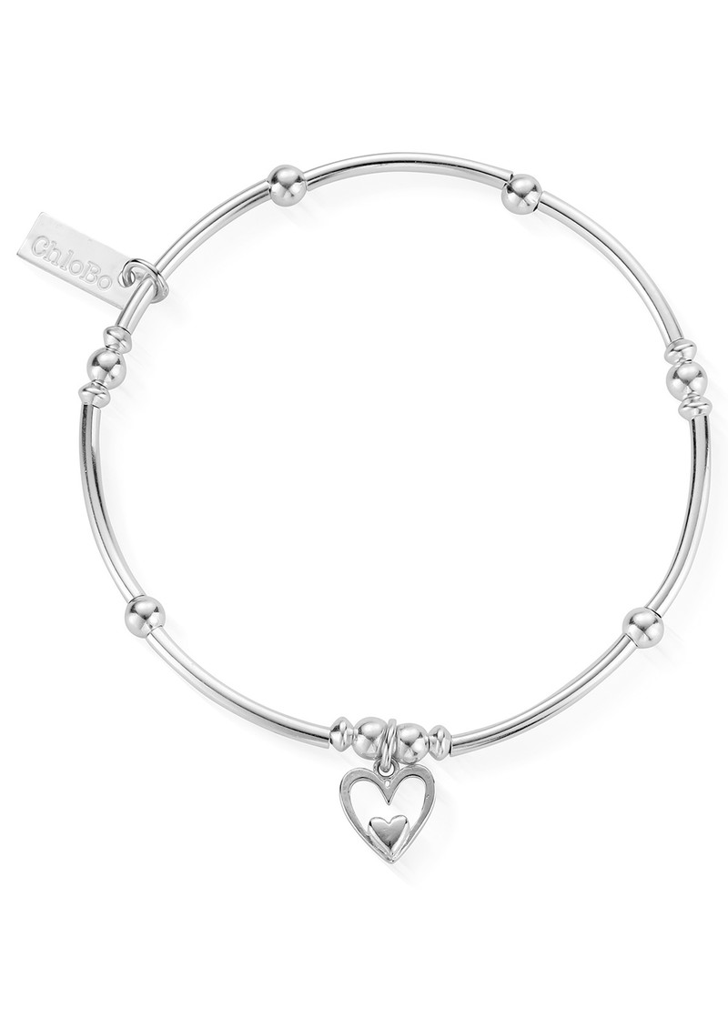 ChloBo Mini Noodle Ball Heart in Heart Bracelet - Silver main image