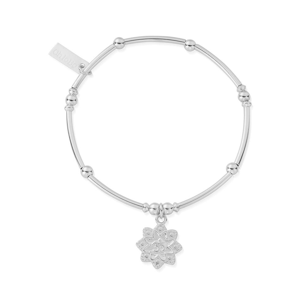 Mini Noodle Ball Flower Om Bracelet - Silver