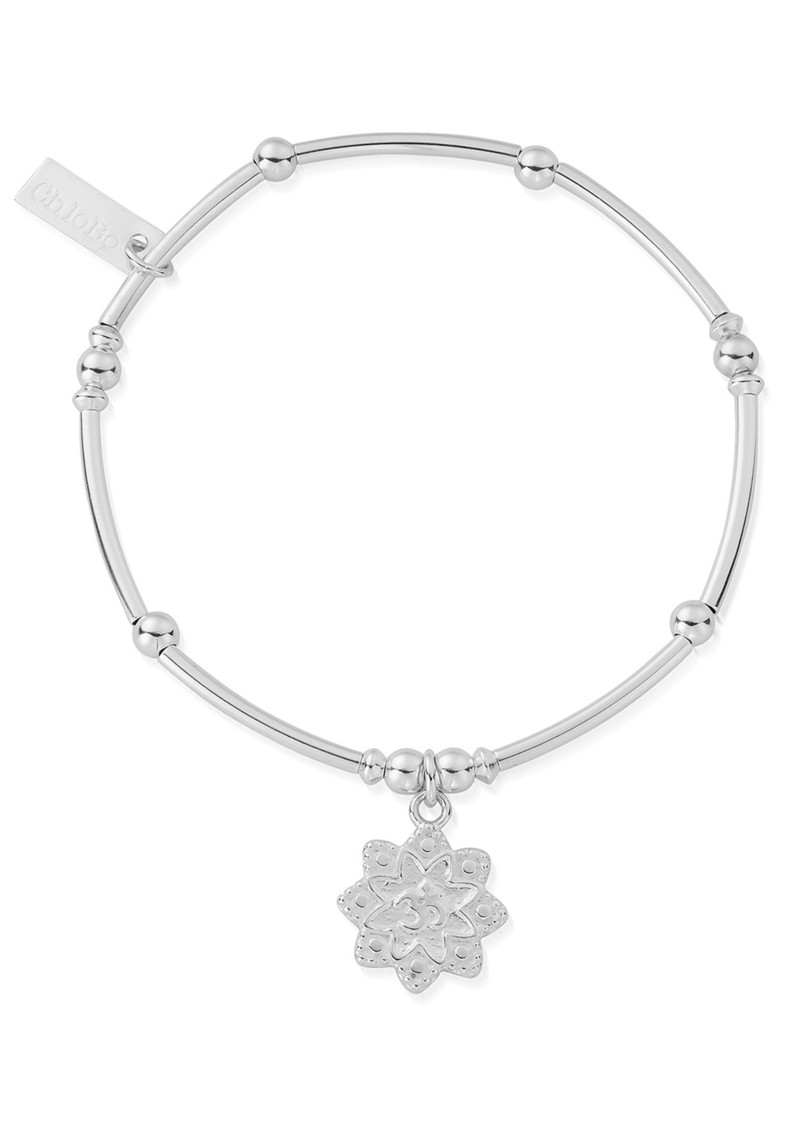 Mini Noodle Ball Flower Om Bracelet - Silver main image