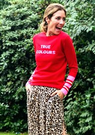 True Colours Jumper - Red & Neon Pink