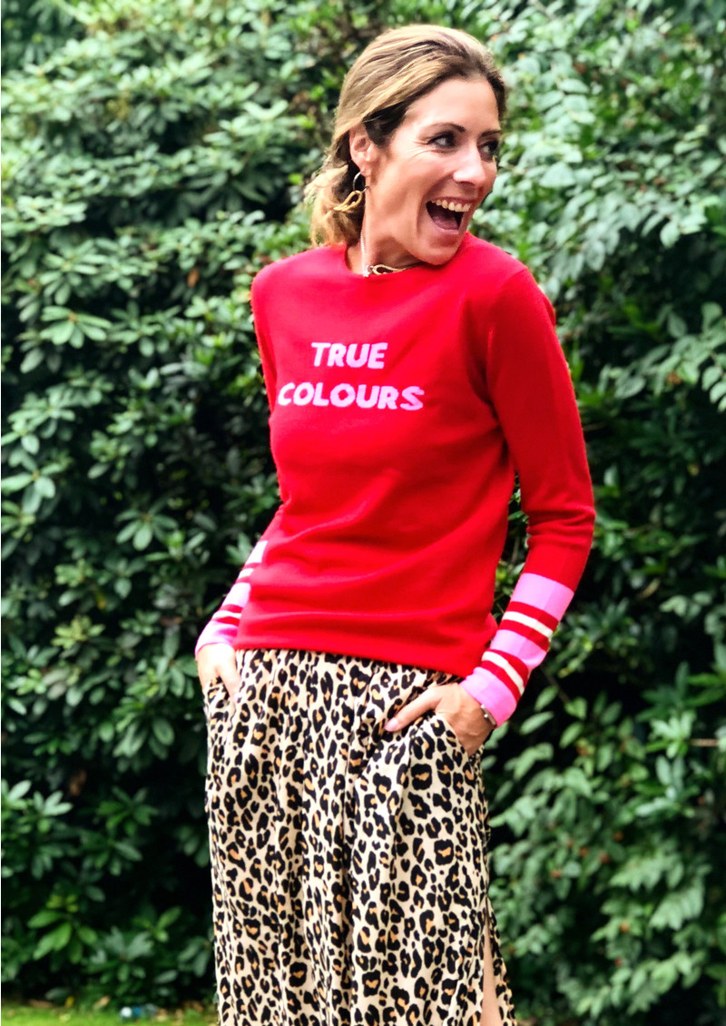 ORWELL + AUSTEN True Colours Jumper - Red & Neon Pink main image