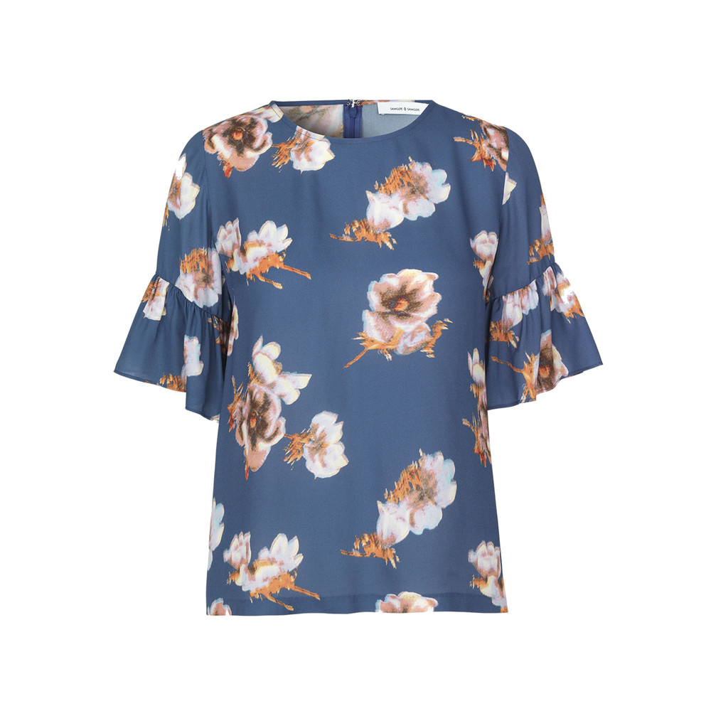Serena Sleeve AOP Top - Blue Floral