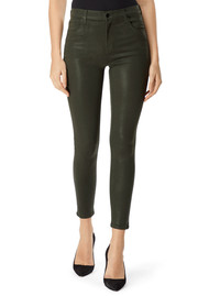 J Brand Alana High Rise Crop Coated Skinny Jeans - Ivy Vine