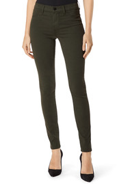 J Brand 485 Mid Rise Super Skinny Sateen Jeans - Ivy Vine