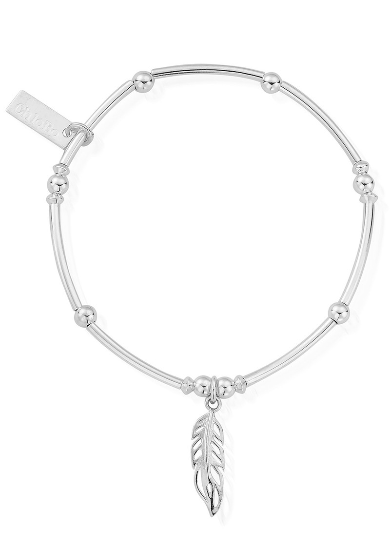 Mini Noodle Ball Filigree Feather Bracelet - Silver main image