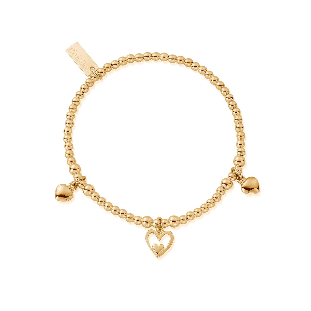 Cute Charm Triple Heart Bracelet - Gold