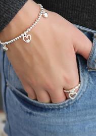 ChloBo Cute Charm Triple Heart Bracelet - Silver