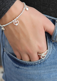 ChloBo Cute Charm Triple Heart Bracelet - Gold