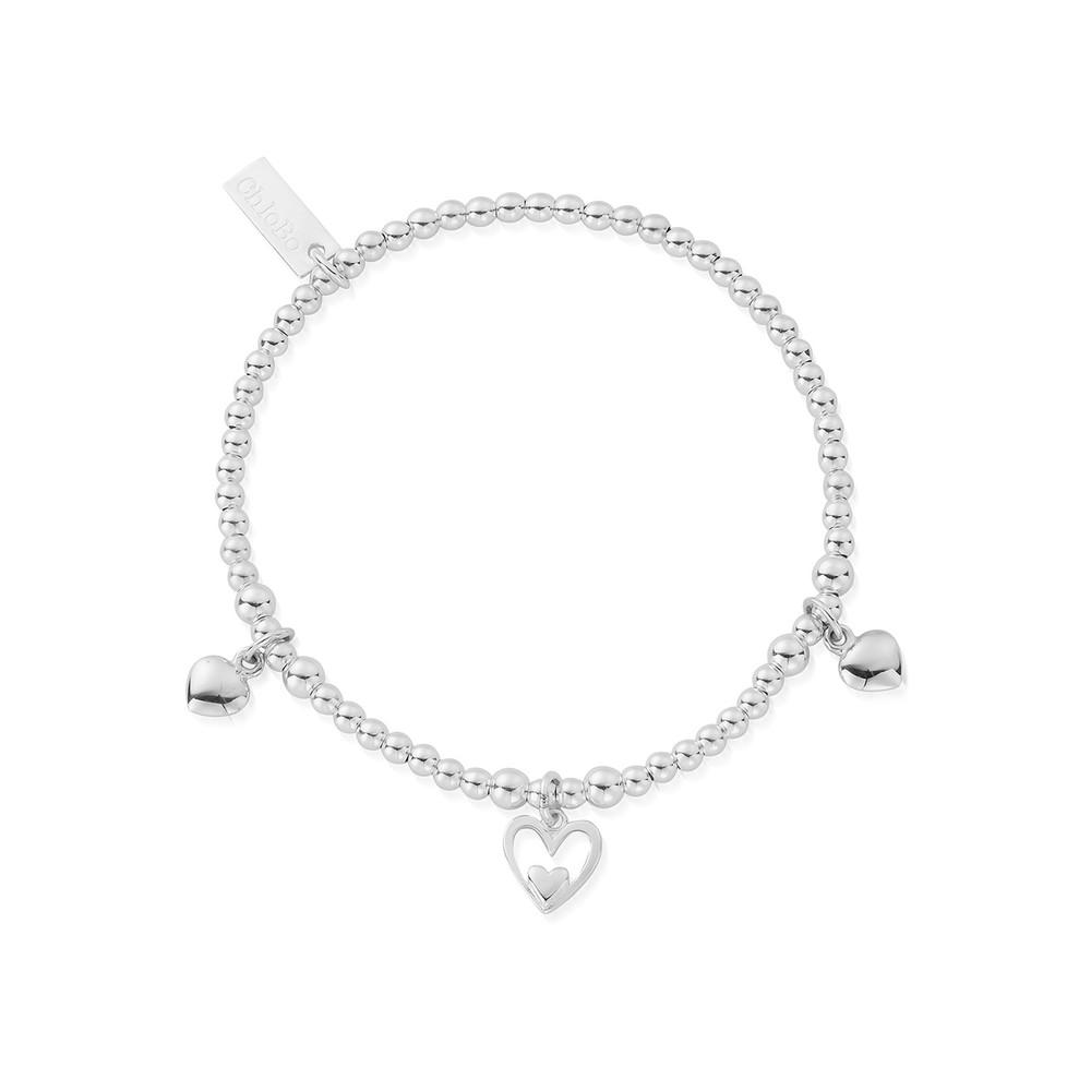 Cute Charm Triple Heart Bracelet - Silver