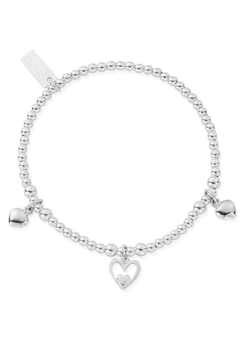 ChloBo Cute Charm Triple Heart Bracelet - Silver main image