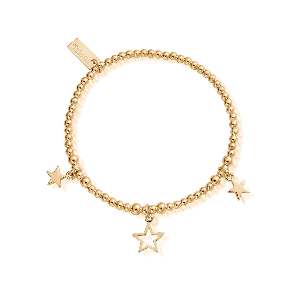 Cute Charm Triple Star Bracelet - Gold