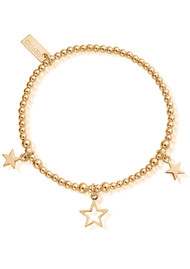 ChloBo Cute Charm Triple Star Bracelet - Gold