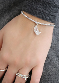 ChloBo Cute Charm Feather Heart Bracelet - Silver