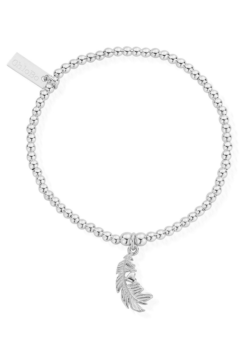 ChloBo Cute Charm Feather Heart Bracelet - Silver main image
