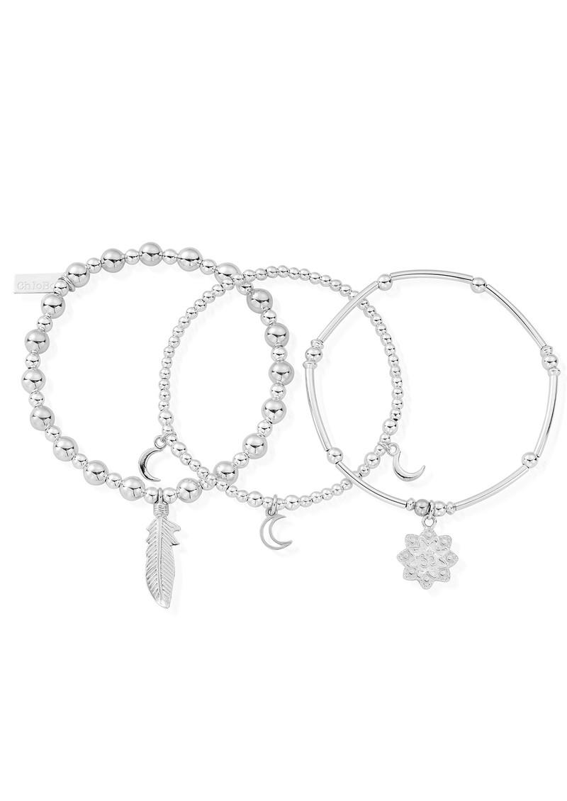 ChloBo Namaste Stack of 3 Bracelets - Silver main image