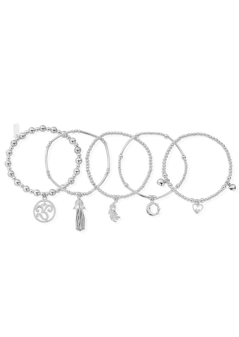 ee2b347fc ChloBo Divine stack of 5 Bracelets - Silver main image ...