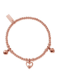 ChloBo Triple Heart Charm Bracelet - Rose Gold