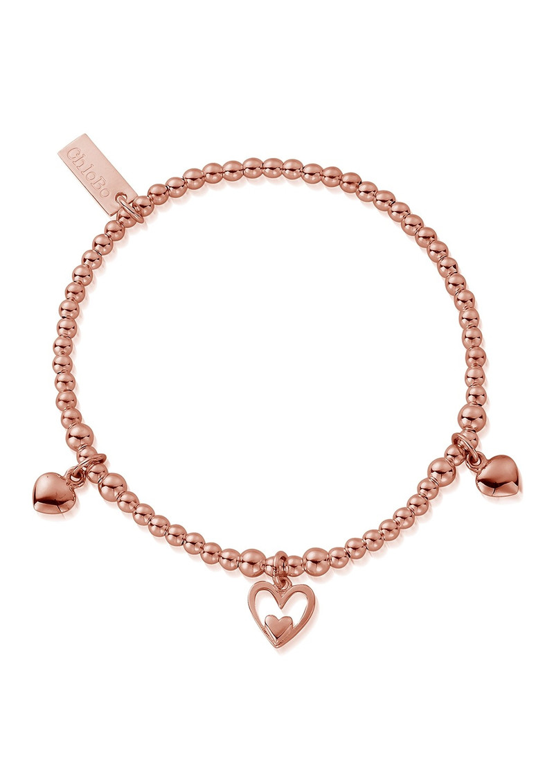 ChloBo Triple Heart Charm Bracelet - Rose Gold  main image