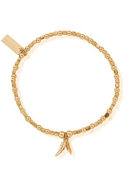 ChloBo Mini Double Feather Charm Bracelet - Gold