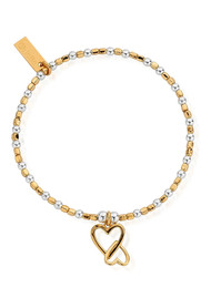ChloBo Cube Interlocking Heart Charm Bracelet - Silver & Gold
