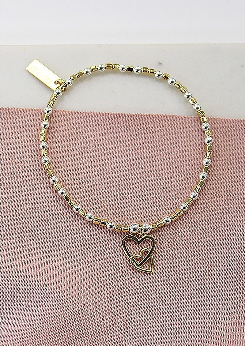 ChloBo Cube Interlocking Heart Charm Bracelet - Silver & Gold main image