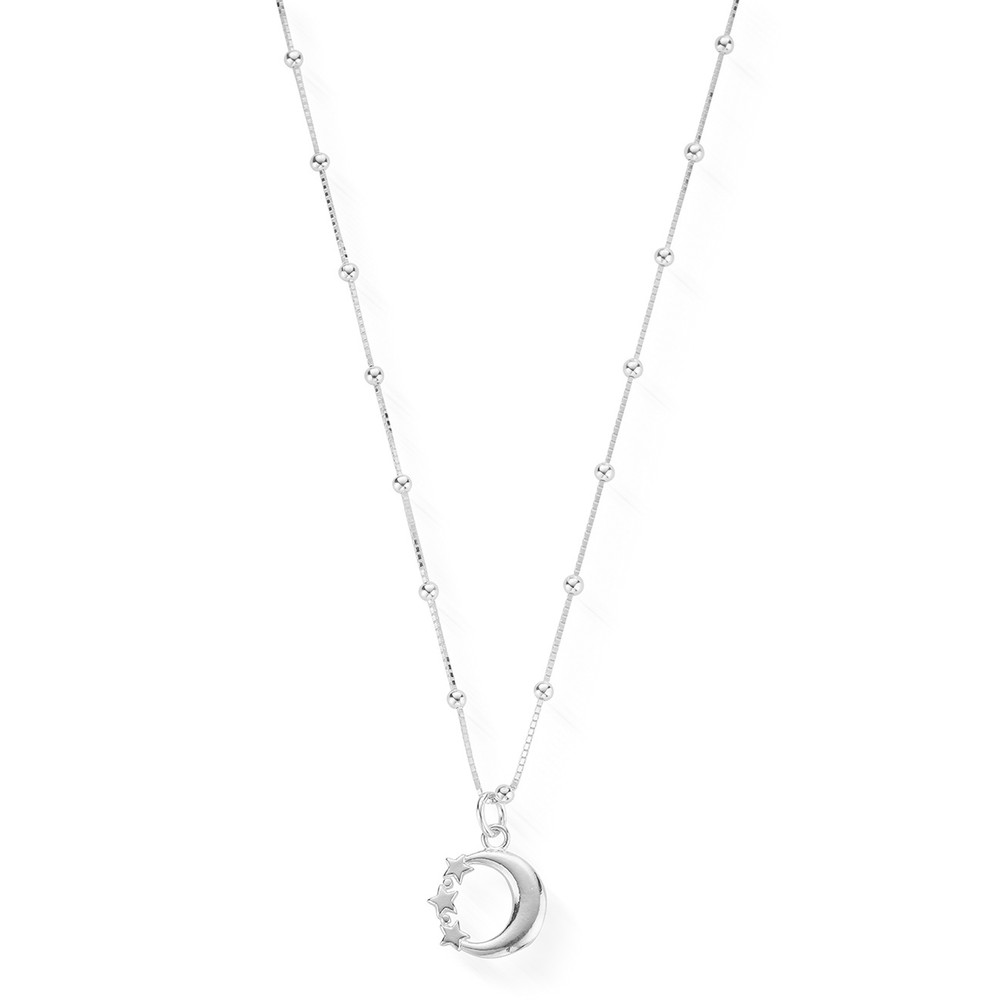 Moon & Star Newbies Necklace - Silver