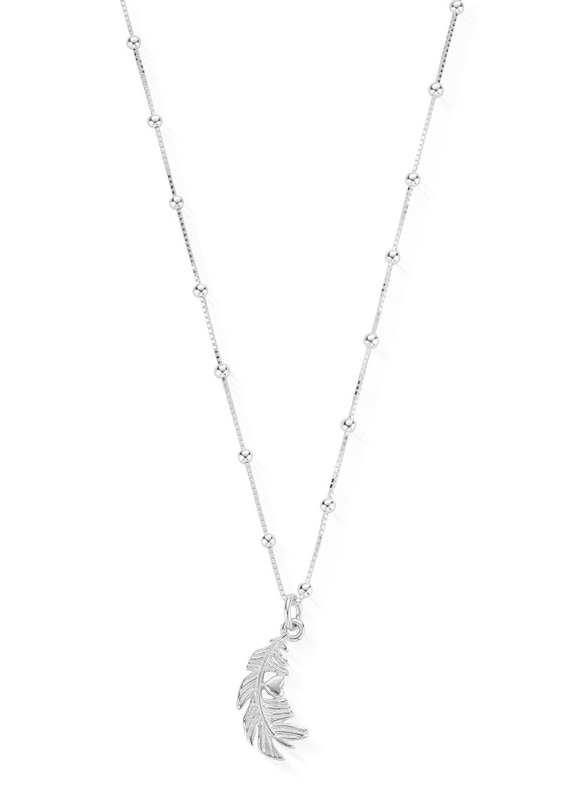 Heart & Feather Newbies Necklace - Silver  main image