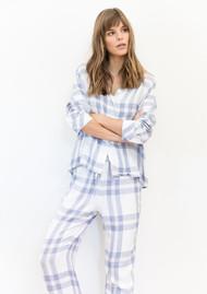 Rails Clara Check Long Sleeve Pyjama Set - White/Blue/Petal