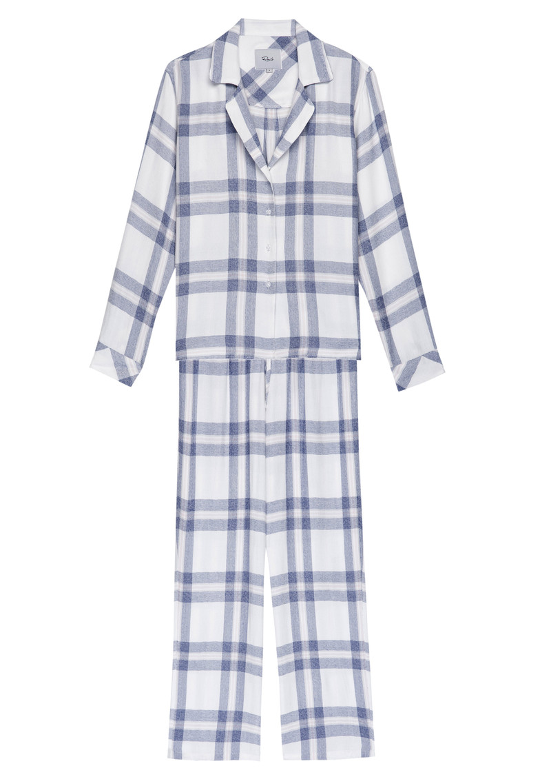 Rails Clara Check Long Sleeve Pyjama Set - White/Blue/Petal main image