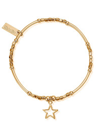 ChloBo Mini Noodle Cube Small Open Star Bracelet - Gold