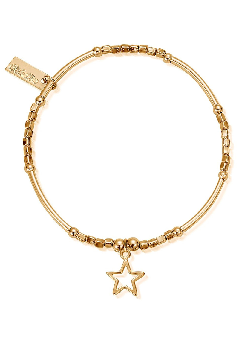 ChloBo Mini Noodle Cube Small Open Star Bracelet - Gold main image