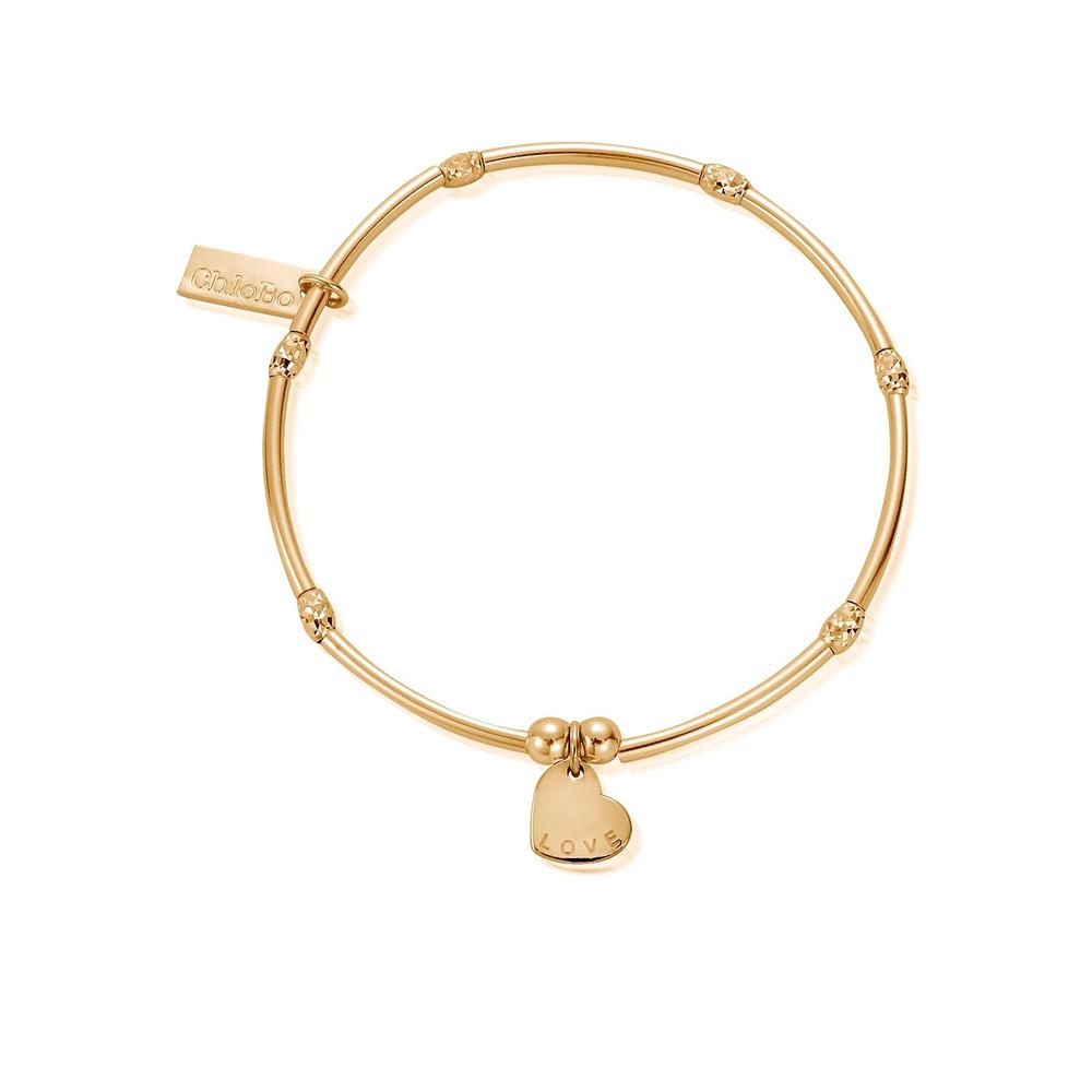 Mini Noodle Sparkle Rice Love Heart Bracelet - Gold