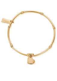 ChloBo Mini Noodle Sparkle Rice Love Heart Bracelet - Gold