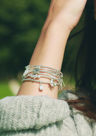 ChloBo Mini Cube Dainty Moon & Sun Bracelet - Silver