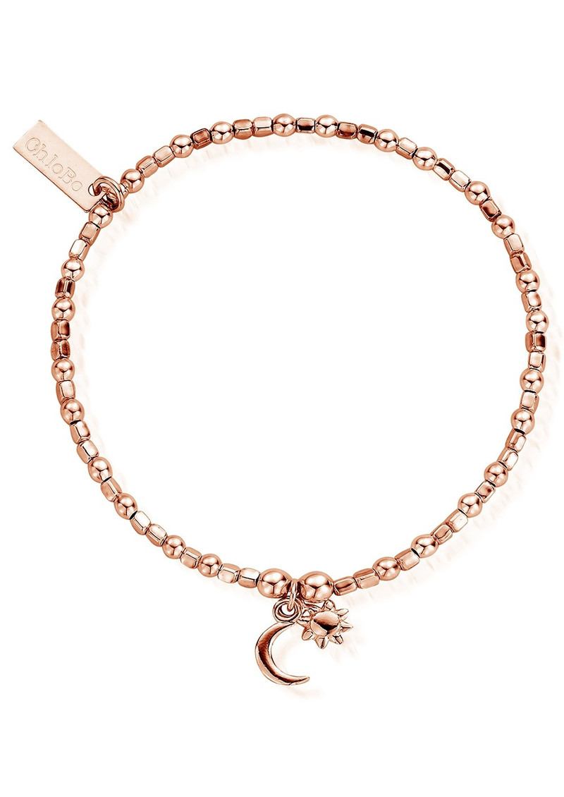 Mini Cube Dainty Moon & Sun Bracelet - Rose Gold main image