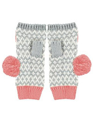 MISS POM POM Fingerless Graphic Gloves - Pink