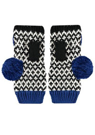 MISS POM POM Fingerless Graphic Gloves - Cobalt