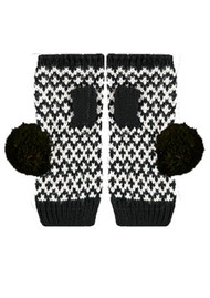 MISS POM POM Fingerless Graphic Gloves - Black