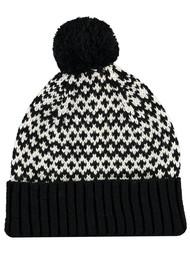 MISS POM POM Graphic Beanie Pom Hat - Black